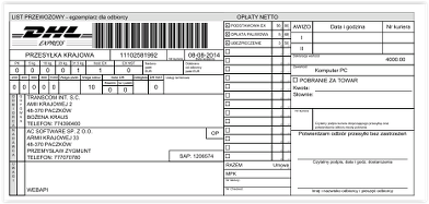 Shipping – DHL shipping label